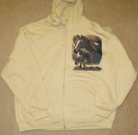 Adult Full Zipper Hoodie with Horse pictures on front and back