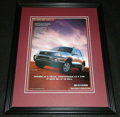 2001 Hyundai Santa Fe Framed 11x14 ORIGINAL Advertisement