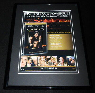 Casino 2005 Framed 11x14 ORIGINAL Advertisement Robert De Niro Sharon Stone