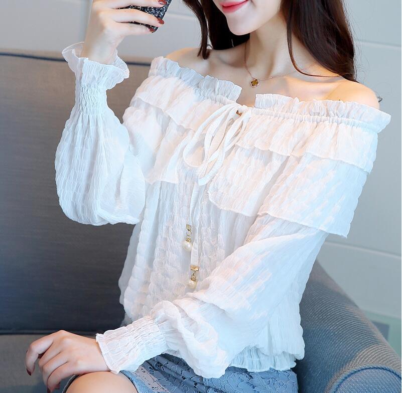 19fd89980ed Details about Women White Lace Off Shoulder Blouse Elegant Bow Tie Long  Sleeve Shirt Tops