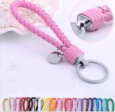 Braided PU Leather Strap Keyring Keychain Car Key Chain Ring
