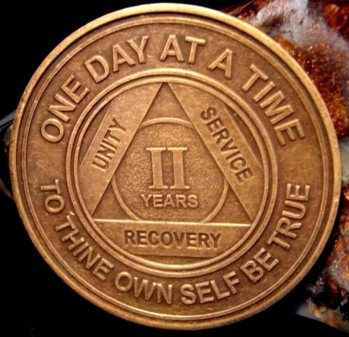 Alcoholics Anonymous AA 2 Year Bronze Medallion Token Coin Chip Sobriety Sober