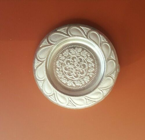 Dollhouse miniature vintage sterling silver Early Gothic plate,  1:12