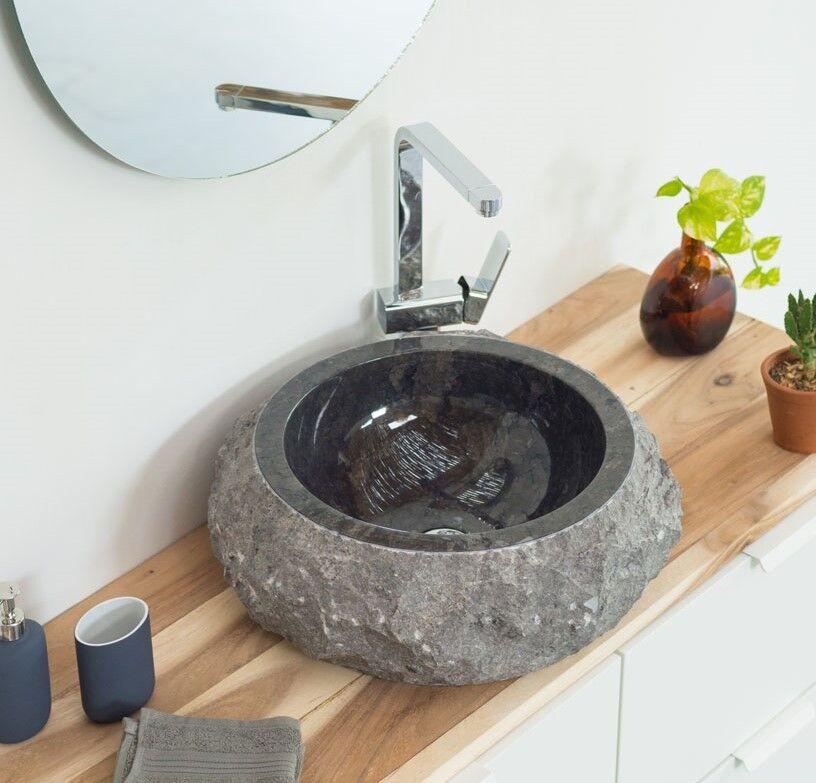 WOHNFREUDEN Waschbecken Donat Naturstein Marmor 45 x 17 cm Stein rund anthrazit