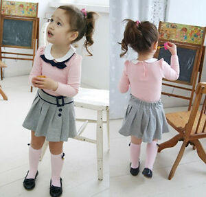 Girls-Baby-Kids-Long-Sleeves-Top-Skirt-2-Pcs-Outfit-Set-S1-6Y-Costume-Clothing