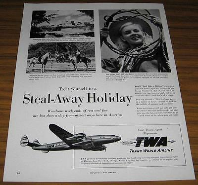 1947 Vintage Ad Twa Trans World Airline Southwest Us Vacations