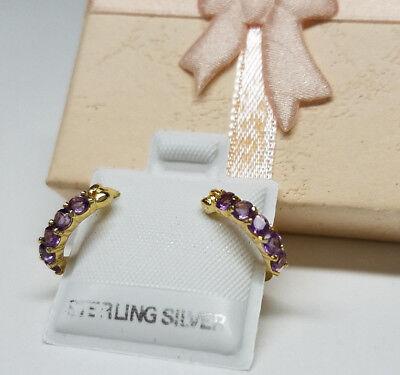 Gold Genuine Amethyst Earring - AMETHYST Purple GEMSTONE Genuine 18K GOLD 925 STERLING SILVER Lady HOOP EARRINGS