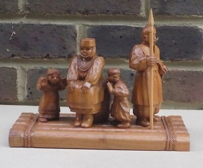 Russian Wooden Carved Figure Group