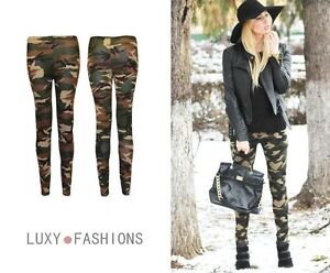 LADIES/WOMENS CAMOUFLAGE CAMO ARMY MILITARY PRINT LONG TROUSERS TIGHTS LEGGINGS