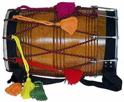 Punjabi Mango Wood Natural Barrel Shaped Padded Bag Beaters Shoulder Strap Dhol