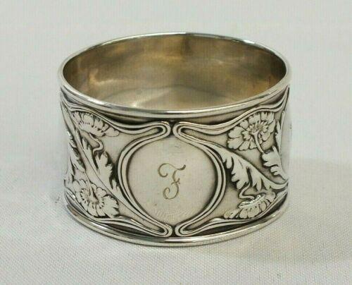 Antique 1928 Monogramed Sterling Silver Ornate Flower Repose Design Napkin Ring
