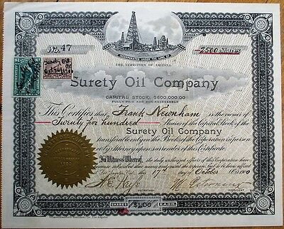 'Surety Oil Company' 1900 Stock Certificate - Territory of Arizona AZ