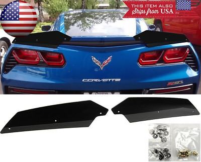 Used, 2PC Trunk Wing Spoiler Gurney Flap Wicker bill For 14-Up Corvette C7 Stingray for sale  USA