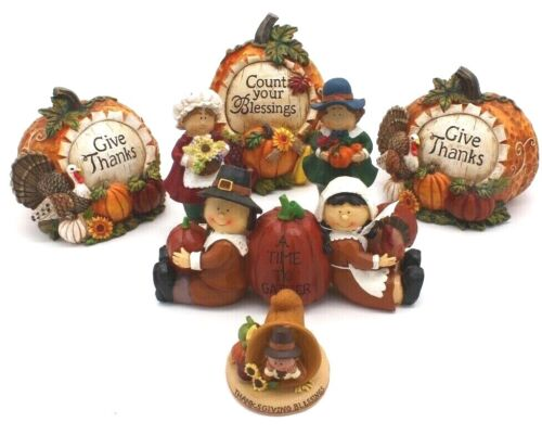 Thanksgiving Décor Autumn Harvest Resin Pilgrim 7 Figurines ADORABLE L@@K!
