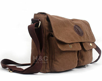 Men's Vintage Canvas Satchel School Military Shoulder Laptop Messenger Bag New