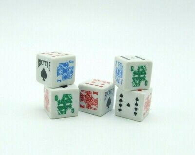 Bicycle Poker Dice Set Of 5 No. PDCE 6 Sided Made In U.S.A Square