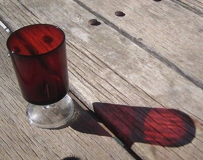 "Vintage 4"" Height x 2 1/4"" Diameter Ruby Red Stemmed Glass Set of 1 FRANCE"