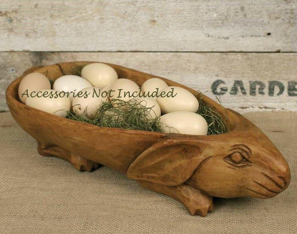 Farmhouse RABBIT BOWL Country Rustic Large Basket Primitive