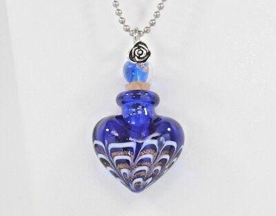 Handmade Cremation Urn Necklace    Blue Art Glass Heart    Jewelry for Ashes Blue Glass Heart Necklace