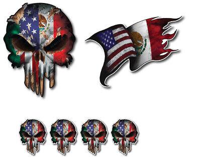 Mexican American Mexico Usa Flag Skull Vinyl Decal Window Sticker Car Truck 3m