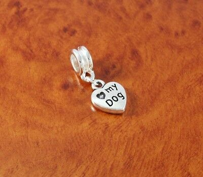Love my dog charm bead for silver European charm bracelet or necklace](Dog Charms For Bracelets)