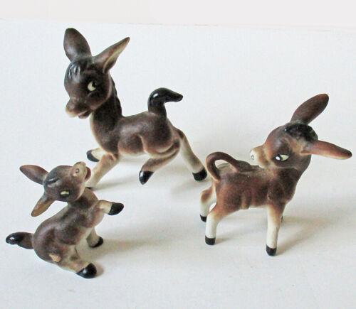 Adorable VIntage Miniature Bone China Donkey Family Figurines