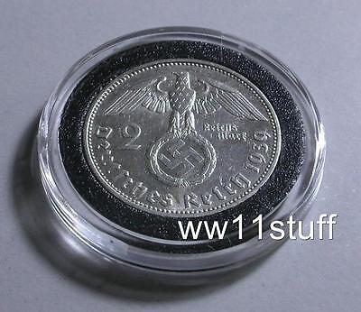 WWII 1939 2 Reichsmark NAZI Silver German Coin W/ Swastika,  WW2