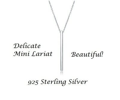 Small Charm Necklace (925 Womens Sterling Silver Tiny Small Bar Lariat Necklace Charm Pendant Simple)