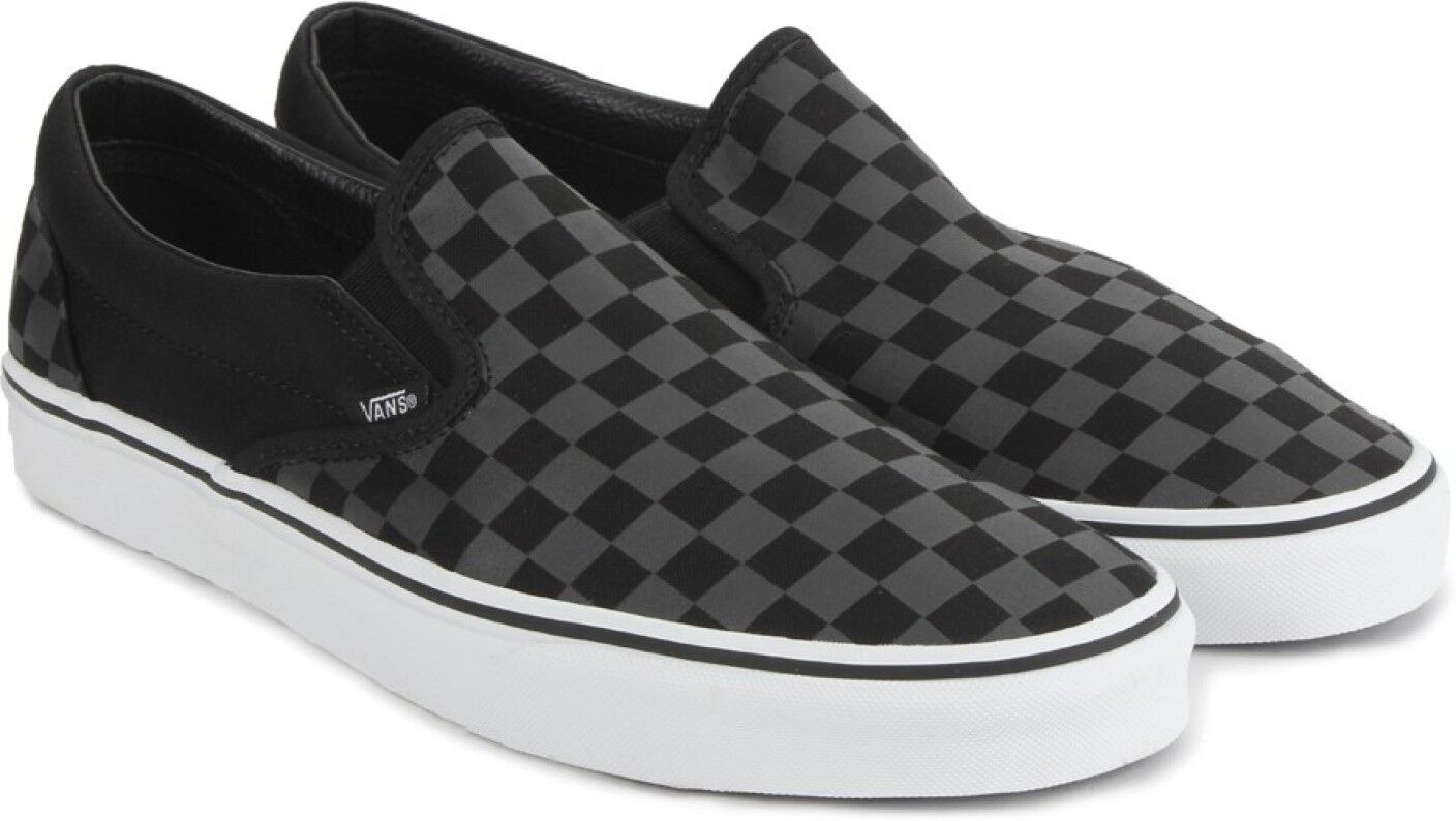 Details about Vans Classic Slip-On Black/Black Shoes Checkerboard Casual  Canvas Loafers White