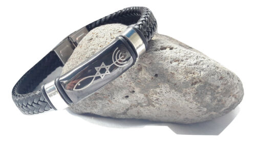 New Bracelet Black Braided leather Menorah,Star Of David,Fish.symbol Messianic