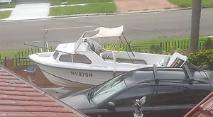 17ft half cabin fishing boat 85hp motor and trailer Moorebank Liverpool Area Preview