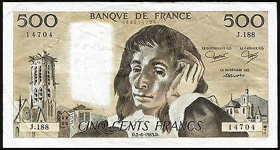 Frankreich / France 500 Francs 1968-93 Pick 156 (3+)