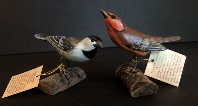 Hand Carved & Painted Small Bird Sculptures Figurines Chickadee & Summer Tanager