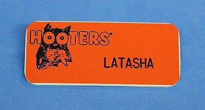 "Hooters Restaurant ""LATASHA"" Orange Girl Name Tag / Pin -  Waitress Pin"