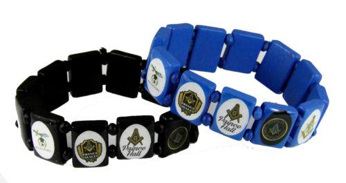 4031882 Set of 2 Prince Hall Stretch Bracelets Masonic Freemason Master Mason