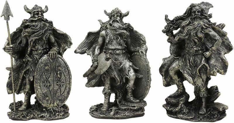Ebros Gift Small Norse Viking Warlock Gods and Sorcerer Statue Set of 3 Figurine