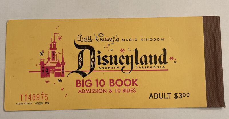 Vintage 1950s Disneyland Adult Big 10 Ticket Book Empty Globe Ticket Walt Disney