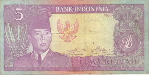 1960 5 RUPIAH INDONESIA CURRENCY BANKNOTE NOTE MONEY BANK BILL CASH ASIA RARE