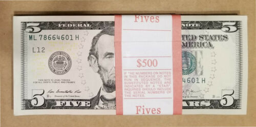 100 PCS BRAND NEW UNC $5 Five Dollar Bills Sequential Order FULL BUNDLE $500
