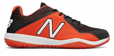 Black Turf Baseball Shoes - New Balance Low-Cut 4040V4 Turf Baseball Cleat Mens Shoes Black With Orange