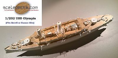 Laser Cut Wood Deck for 1/232 USS Olympia by Revell or Encore Models