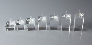 7 x SQUARE SHAPED CLEAR ACRYLIC RING JEWELLERY DISPLAY STANDS