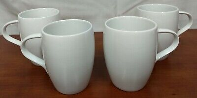 Dansk CLASSIC FJORD White Porcelain Set of 4 Mod Deco Smooth Ear Hdl COFFEE MUGS