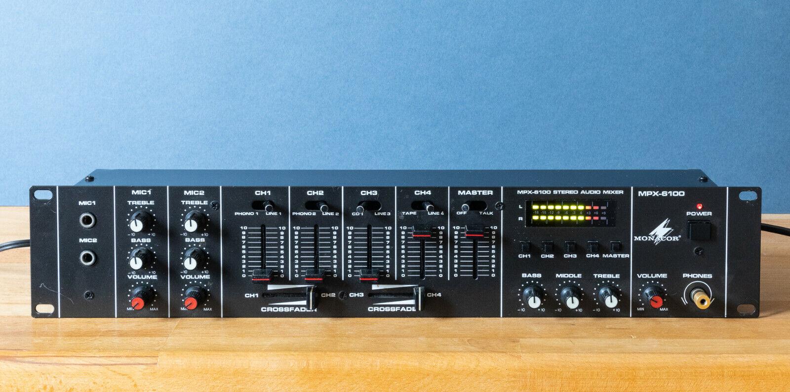 DJ Mischer 19 Zoll Monacor MPX-6100 6 Kanal Stereo plus 2x MIC Audio Mixer