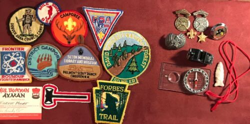 Group of Vintage Boy Scouts of America Patches Badges and Equipment