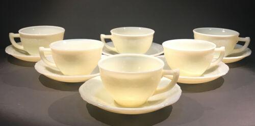 McKee Laurel Custard Lot of 12 6 Cups 6 Saucers French Ivory Custard