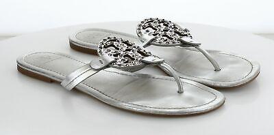 V20 MSRP$228 Women's Size 11 Tory Burch Miller Embellished Silver Leather Sandal