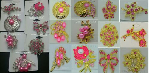 A-70-PI Wholesale Lot 8 Pins  Vintage Style  Brooches Pins Pink  Bouquet