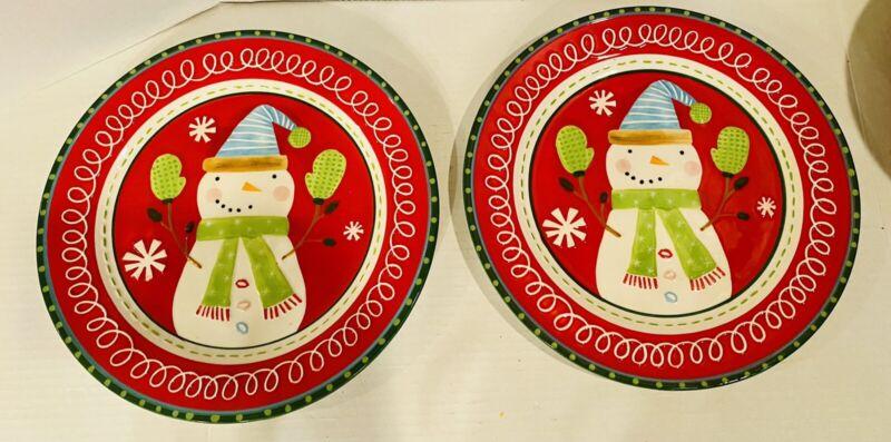 Set Of 2 Rare HTF Pier 1 Snowman Plates EMBOSSED Retired Pattern  Christmas EUC