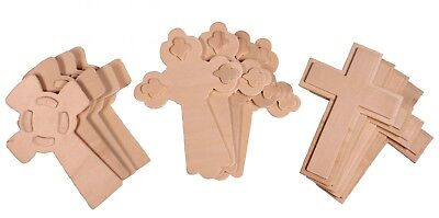 12 Pack - 5.5 Inch Unfinished Wooden Cross,  Ready to Decorate, 3-D Raised